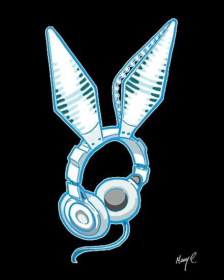White Rabbit Earphones by Mary C