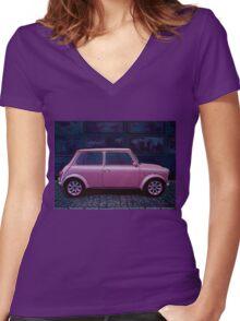 Austin Mini Cooper Painting Women's Fitted V-Neck T-Shirt