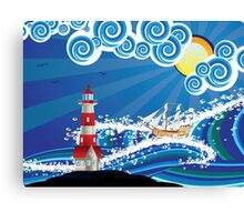 Lighthouse and Boat in the Sea 3 Canvas Print