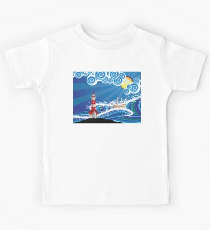 Lighthouse and Boat in the Sea 3 Kids Tee