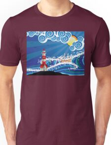 Lighthouse and Boat in the Sea 3 Unisex T-Shirt