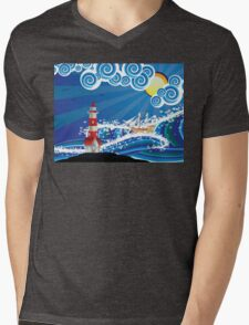 Lighthouse and Boat in the Sea 3 Mens V-Neck T-Shirt