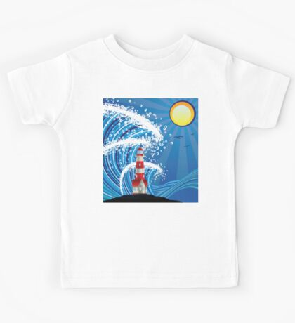 Lighthouse in the Sea 3 Kids Tee