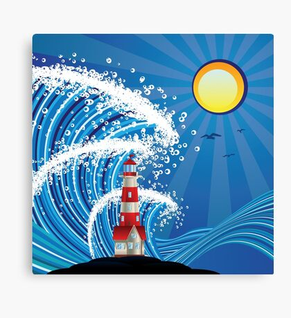 Lighthouse in the Sea 3 Canvas Print