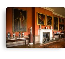 Dunham Massey -room with the fireplace and pictures Canvas Print