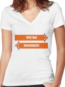 Dad's Army –We're Doomed! Women's Fitted V-Neck T-Shirt