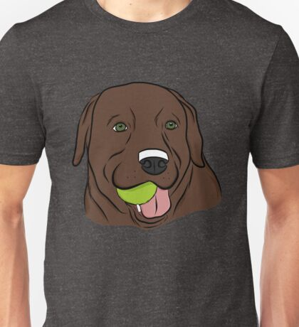 Chocolate Lab with Ball  Unisex T-Shirt