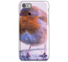 Photo art robin redbreast in the snow iPhone Case/Skin
