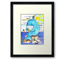 cute whale and tea-time Framed Print