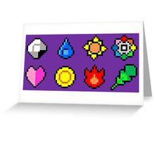 Kanto League Pokemon Master Badges  Greeting Card
