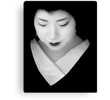 Geisha - grey scale Canvas Print
