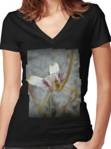 Aussie Spider Orchid Women's Fitted V-Neck T-Shirt