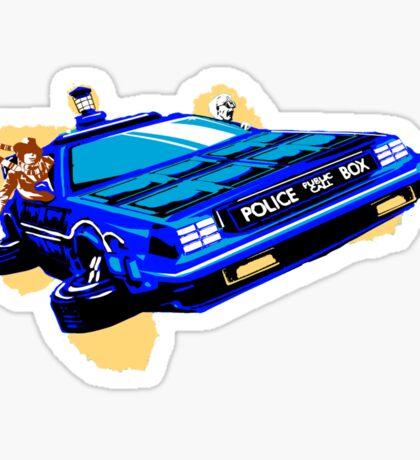 Back to the Future/ Doctor Who DeLorean Tardis Mashup Sticker