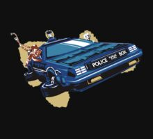 Back to the Future/ Doctor Who DeLorean Tardis Mashup One Piece - Short Sleeve