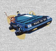 Back to the Future/ Doctor Who DeLorean Tardis Mashup One Piece - Long Sleeve