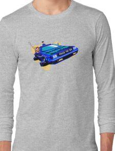 Back to the Future/ Doctor Who DeLorean Tardis Mashup Long Sleeve T-Shirt