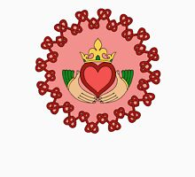 Claddagh and Red Knotwork on Pink Unisex T-Shirt