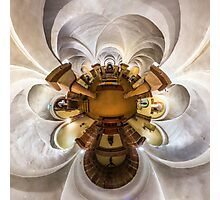 Kaleidoscope view of gothic church interior, little planet effect of panoramic shot.  Photographic Print
