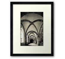Majestic medieval cathedral interior view, old gothic church Framed Print