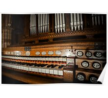Beautiful old pipe organ in medieval cathedral Poster