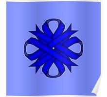 Blue Clover Ribbon Poster