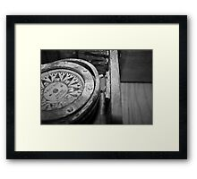 Black and White Compass Framed Print