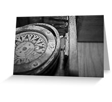 Black and White Compass Greeting Card