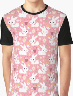 Easter Bunny Pink Pattern Graphic T-Shirt