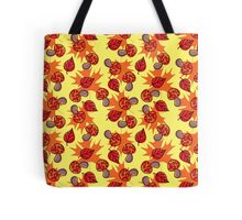 Mushrooms and Leaves Yellow Pattern Tote Bag