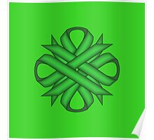Green Clover Ribbon Poster