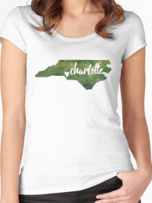 Charlotte, North Carolina - green watercolor Women's Fitted Scoop T-Shirt