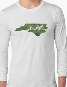 Charlotte, North Carolina - green watercolor Long Sleeve T-Shirt