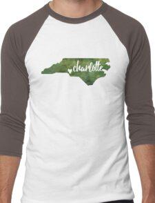 Charlotte, North Carolina - green watercolor Men's Baseball ¾ T-Shirt