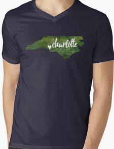 Charlotte, North Carolina - green watercolor Mens V-Neck T-Shirt