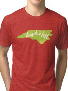 Chapel Hill, North Carolina - green watercolor Tri-blend T-Shirt