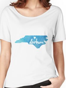 Durham, North Carolina - blue watercolor Women's Relaxed Fit T-Shirt