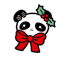 Christmas Panda Face Photographic Print