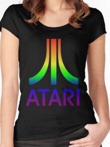 Atari Big Rainbow Logo Women's Fitted Scoop T-Shirt
