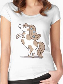 Tiny Horse Rearing - brown and white Women's Fitted Scoop T-Shirt