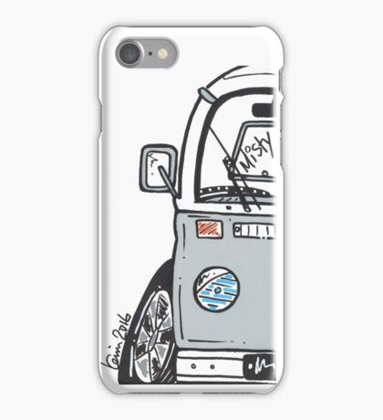VW Camper Van Misty Grey Bay iPhone Case/Skin