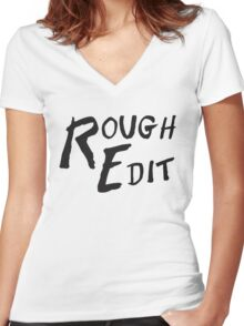 Rough Edit Main Logo Women's Fitted V-Neck T-Shirt