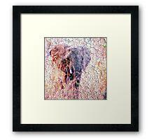 Elephant Faux Vintage Grunge Framed Print