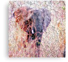 Elephant Faux Vintage Grunge Canvas Print