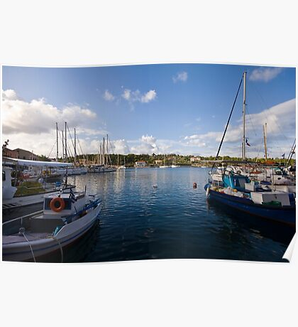 Boats in Fiskardo Bay Poster