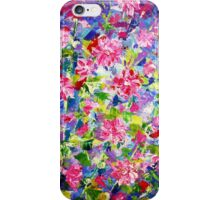 Abstract Acrylic Painting Holly Hock Purple Flowers iPhone Case/Skin