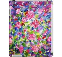 Abstract Acrylic Painting Holly Hock Purple Flowers iPad Case/Skin