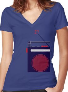Funky Little Radio Women's Fitted V-Neck T-Shirt