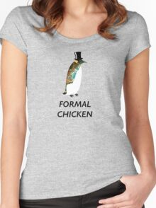 Psychedelic Formal Chicken Penguin Women's Fitted Scoop T-Shirt