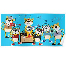 Cartoon Animals Tigers Rock Band Musical Poster