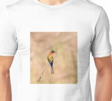 Red-throated Bee-eater, brown background Unisex T-Shirt